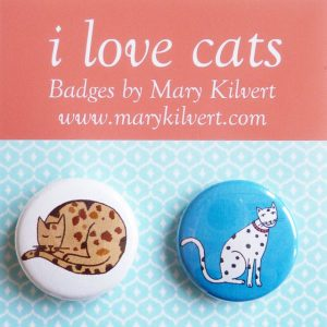 Mary Kilvert - I Love Cats Badges
