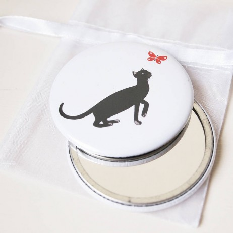 Cat and butterfly pocket mirrors