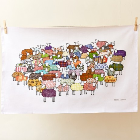 Mary Kilvert - Flock of Colourful Sheep Tea Towel