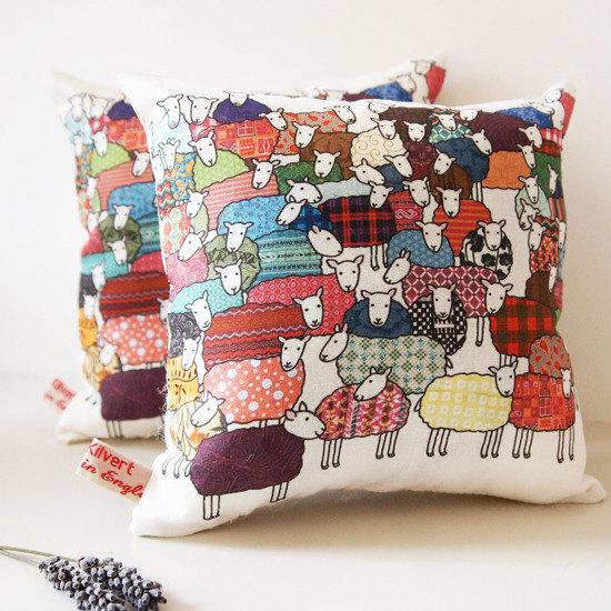 Mary Kilvert - Colourful Sheep Lavender Cushion
