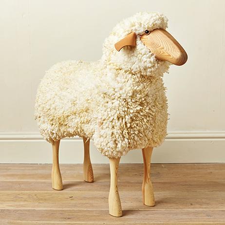 Large Ram Wooden Sheep Stool
