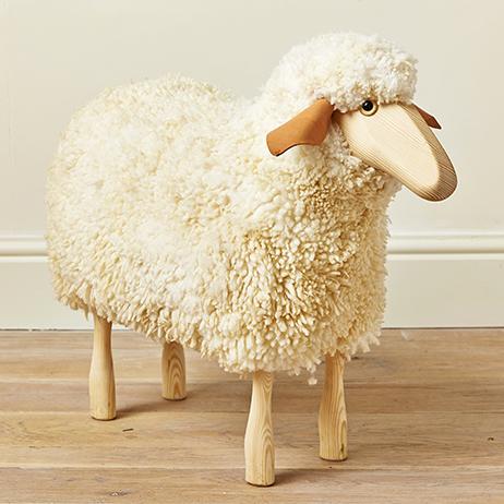 Balvi Stool Le Mouton White colour Shaped like sheep Wooden legs Polyester//wood