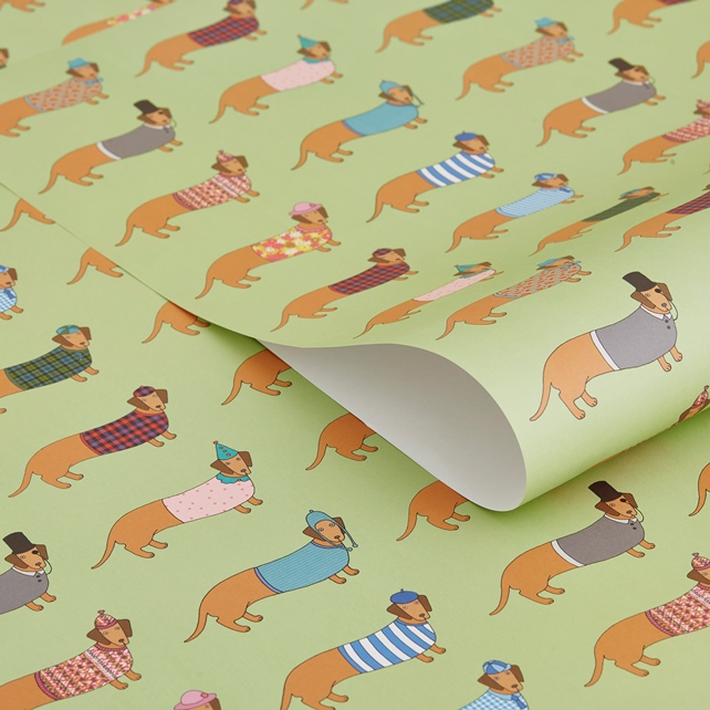 Mary Kilvert Larry the Long Dachshund Gift Wrap