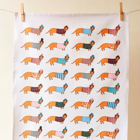 Mary Kilvert - Larry Long Dog Tea Towel