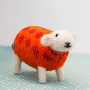 Pumpkin Felted Sheep