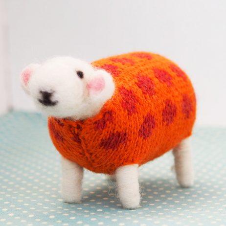 Pumpkin Felted Sheep