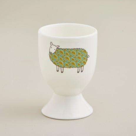 Mary Kilvert - Green Paisley Sheep Egg Cup