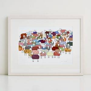 Mary Kilvert - Flock of Colourful Sheep Fine Art Print