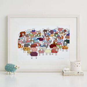 Mary Kilvert - Flock of Colourful Sheep Fine Art Print