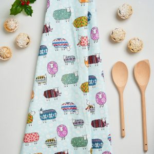 Sheep in the Snow Tea Towel by Mary Kilvert