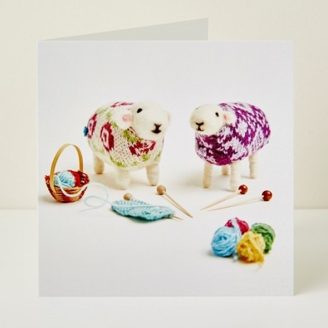 Mary Kilvert - Knitting Friends Greeting Card