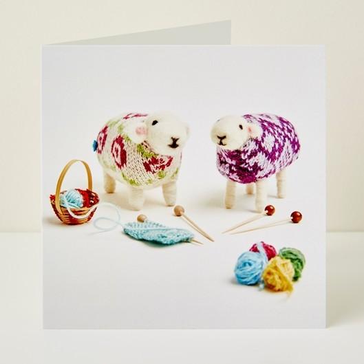 Mary Kilvert - Knitting Friends Greeting Card