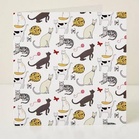 Mary Kilvert - Cat Pattern Greeting Card
