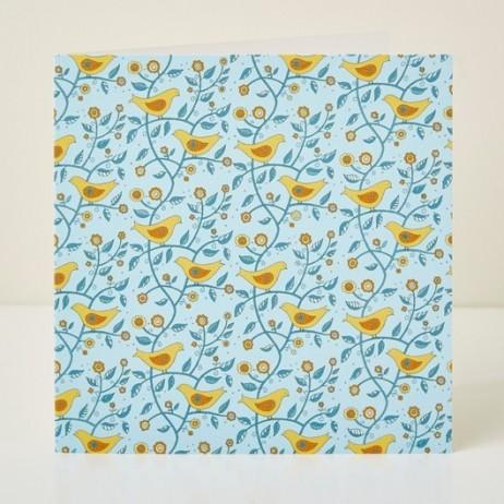 Mary Kilvert - Folk Birds Greeting Card
