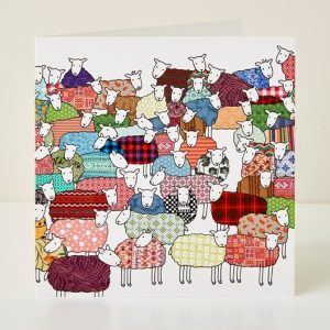 Mary Kilvert - Flock of Colourful Sheep Greeting Card
