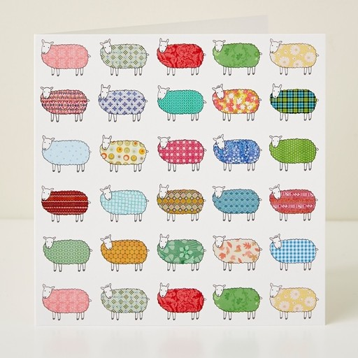 Mary Kilvert - Flock of Colourful Sheep Pattern Greeting Card