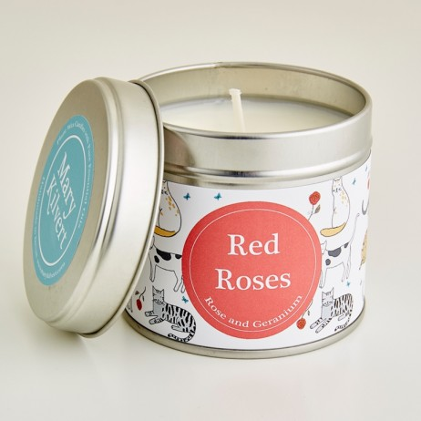 Red Roses Candle in Crafty Cats Pattern