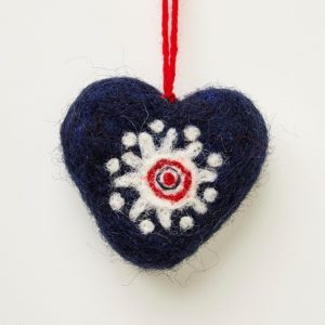 Navy Felted Heart Decoration