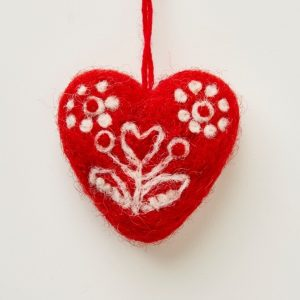 Red Felted Heart Decoration