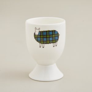Mary Kilvert - Green Tartan Sheep Egg Cup
