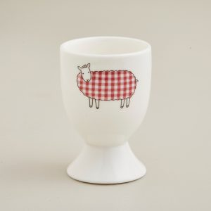 Red Tartan Sheep Egg Cup