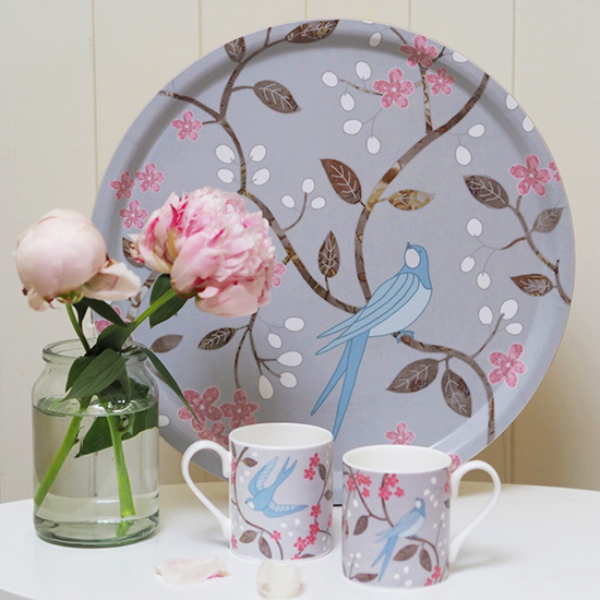 Swallows Tea Tray and Mugs - Mary Kilvert