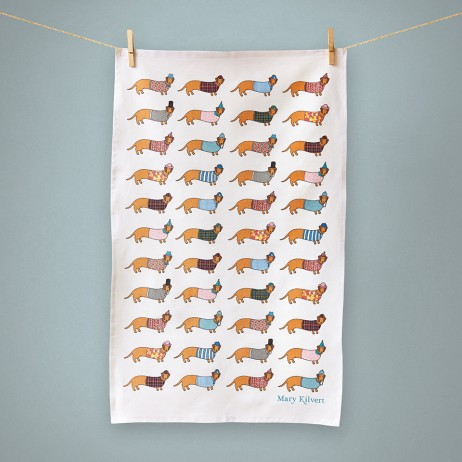 Dachshund tea towel - Mary Kilvert