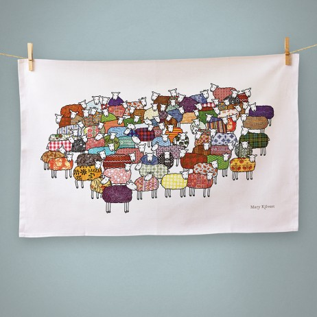 Colourful Sheep tea towel - Mary Kilvert