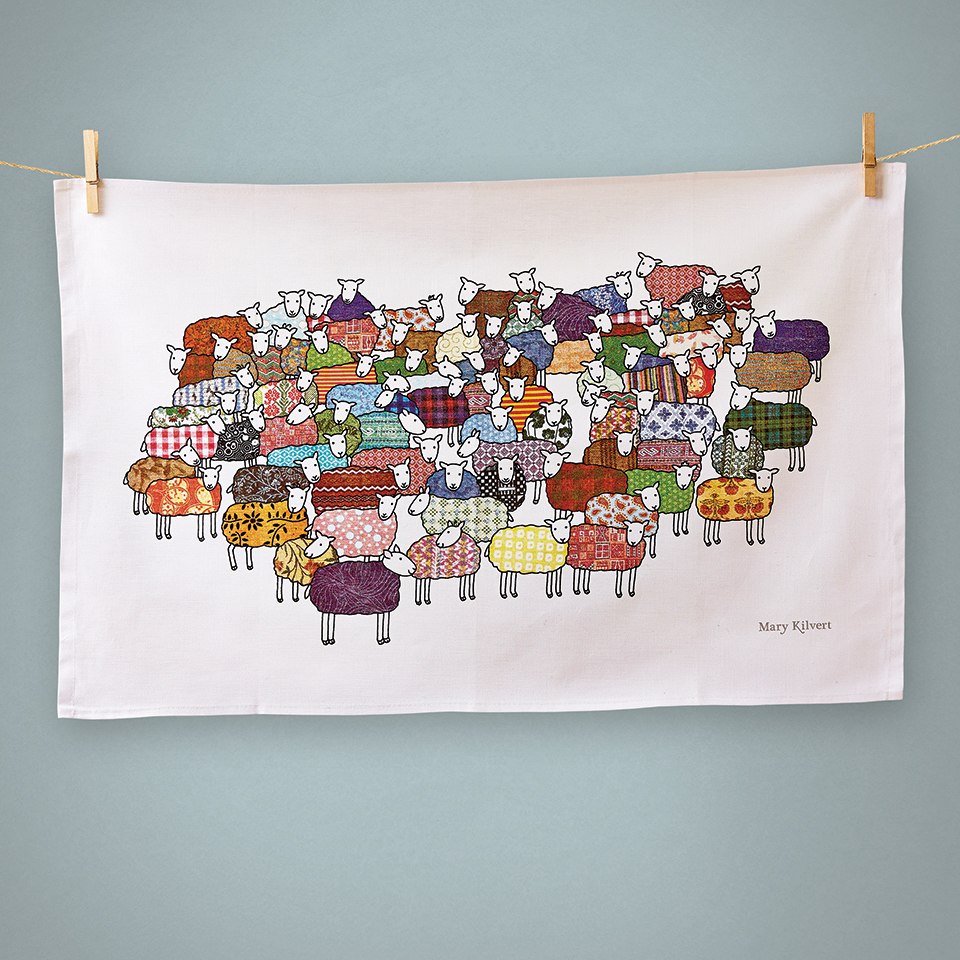 Flock Of Colourful Sheep Tea Towelmary Kilvert