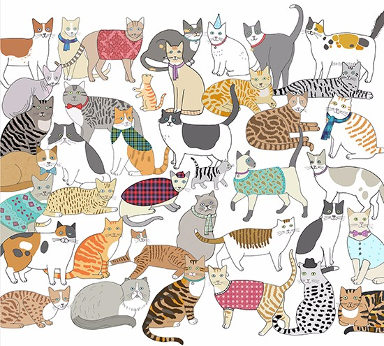 Cradle of Crafty Cats Tea Towel