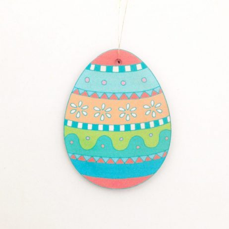 Floral Easter Egg Wooden Decoration