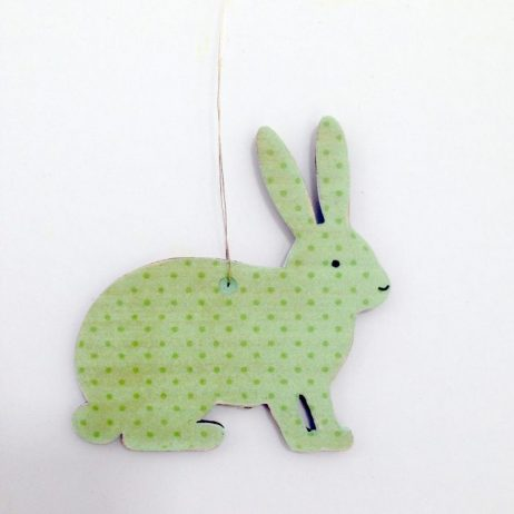 Green Bunny Wooden Decoration