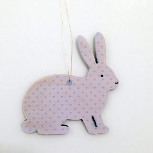 Purple Bunny Wooden Decoration