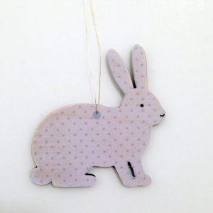 Purple Bunny Wooden Decoration