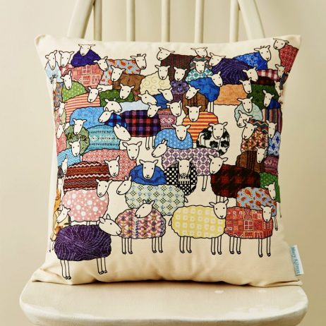 Flock of Colourful Sheep Cushion
