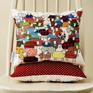 Flock of Colourful Sheep Scatter Cushion