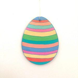 Stripe Easter Egg Wooden Decoration