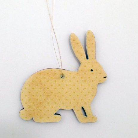 Yellow Bunny Wooden Decoration