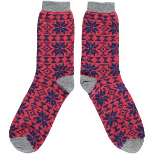 Lambswool Red Fair Isle Ankle Socks by Catherine Tough