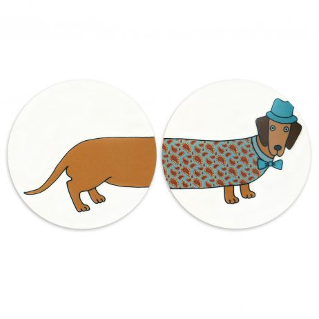 Larry Long Dog Round Coasters