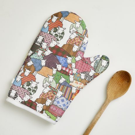 Flock of Colourful Sheep Oven Mitten