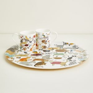 Crafty Cats Round Tea Tray