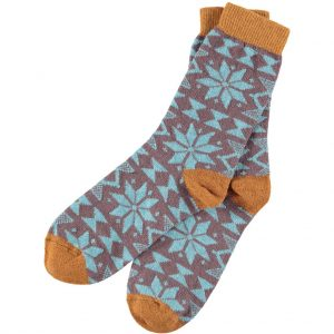 Lambswool Mulberry Fair Isle Ankle Socks by Catherine Tough