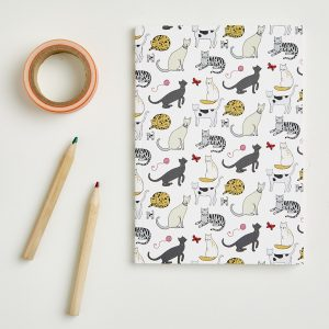 small cat pattern notebook