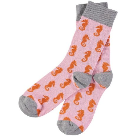 Cotton Pink Seahorse Ankle Socks by Catherine Tough