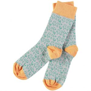 Cotton Jade Leopard Print Ankle Socks by Catherine Tough