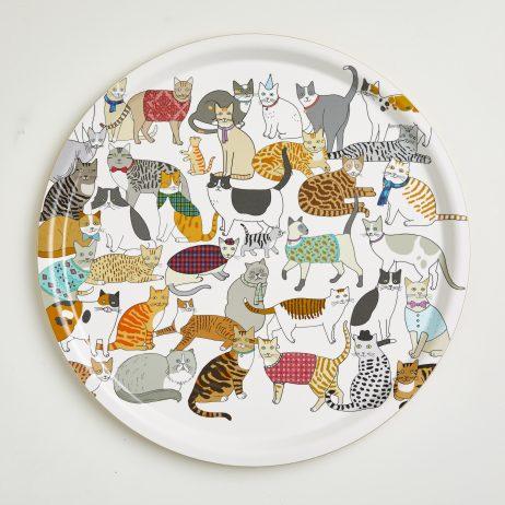 Crafty Cats Round Tea Tray
