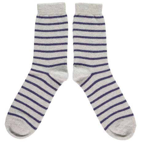 Lambswool Purple Stripe Ankle Socks by Catherine Tough