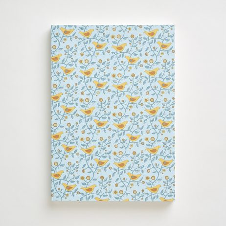 Large Folk Bird Pattern Notebook