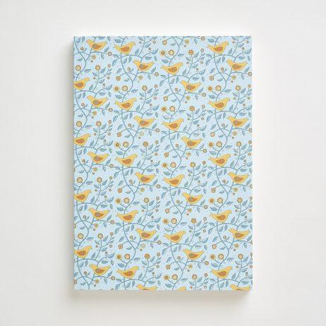 Large Folk Bird Pattern Notebook